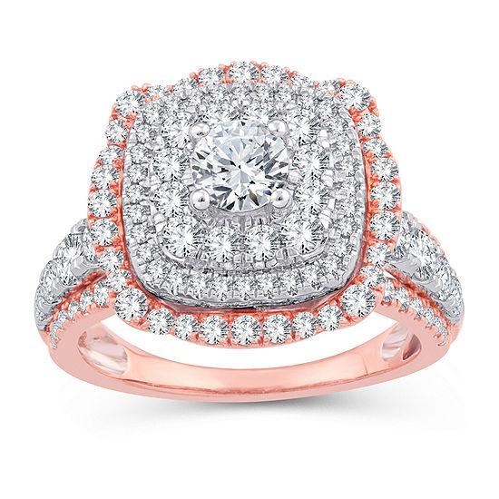 Womens 2 1/4 CT. T.W. Genuine White Diamond 10K Gold 10K Rose Gold Engagement Ring