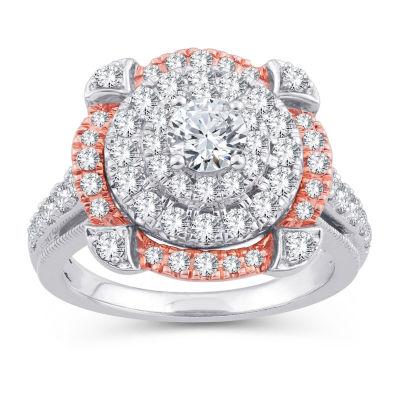 Womens 1 3/4 CT. T.W. Genuine White Diamond 10K Gold 10K Rose Gold Engagement Ring