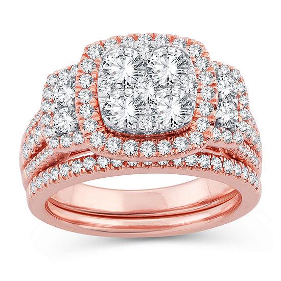 Womens 2 CT. T.W. Genuine White Diamond 14K Gold 14K Rose Gold Engagement Ring
