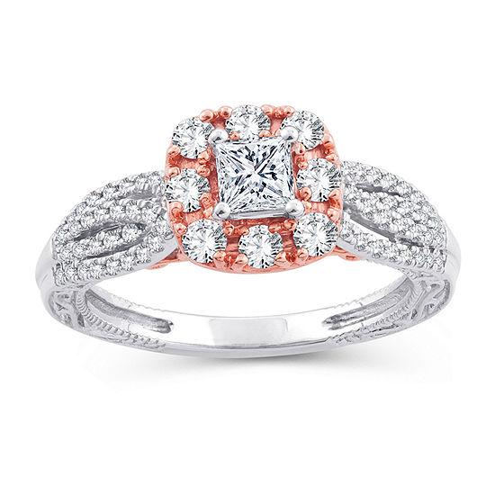 Womens 1 1/2 CT. T.W. Genuine White Diamond 10K Gold 10K Rose Gold Engagement Ring