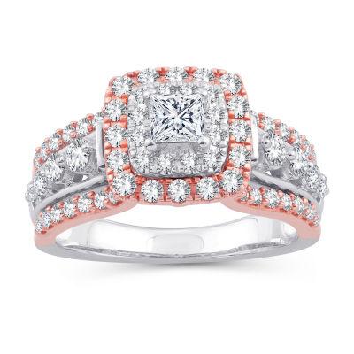 Womens 1 1/3 CT. T.W. White Diamond 10K Gold 10K Rose Gold Engagement Ring