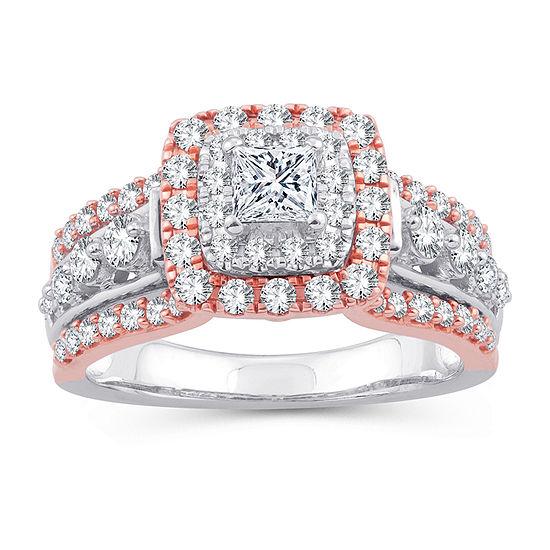 Womens 1 1 3 Ct Tw Genuine White Diamond 10k Gold 10k Rose Gold Engagement Ring