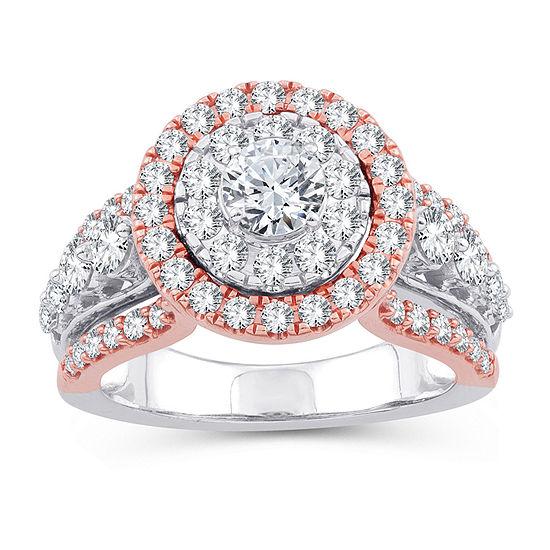 Womens 2 CT. T.W. Genuine White Diamond 10K Gold 10K Rose Gold Engagement Ring