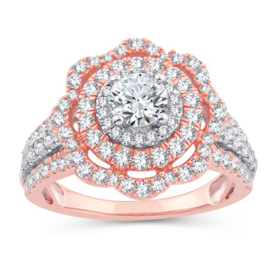Womens 2 CT. T.W. Genuine White Diamond 10K Gold 10K Rose Gold Engagement Ring