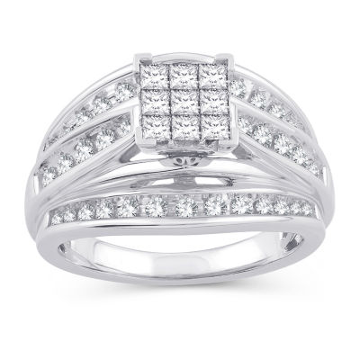 Womens 1 CT. T.W. White Diamond 10K White Gold Engagement Ring