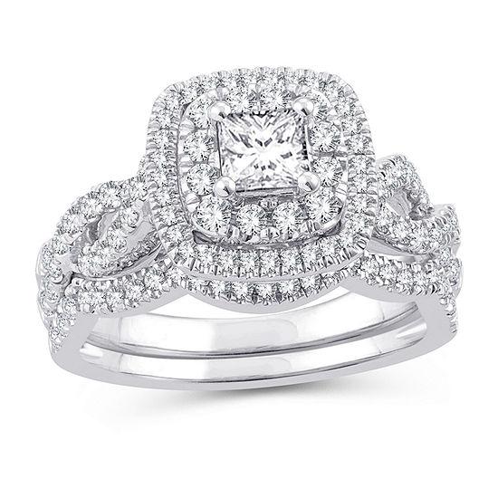 Womens 1 1/8 CT. T.W. Genuine White Diamond 10K White Gold Engagement Ring