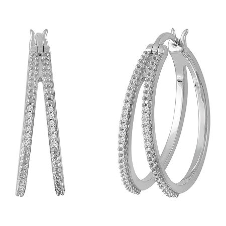 Diamond Accent Genuine White Diamond Sterling Silver 25mm Hoop Earrings, One Size