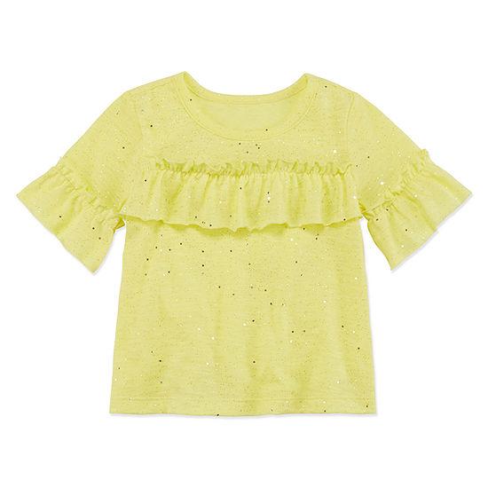 Okie Dokie Girls Crew Neck Elbow Sleeve T Shirt Baby
