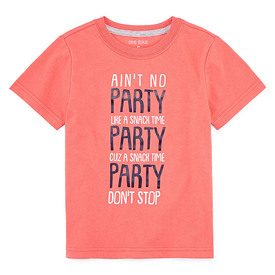 Okie Dokie Boys Crew Neck Short Sleeve Graphic T Shirt Toddler