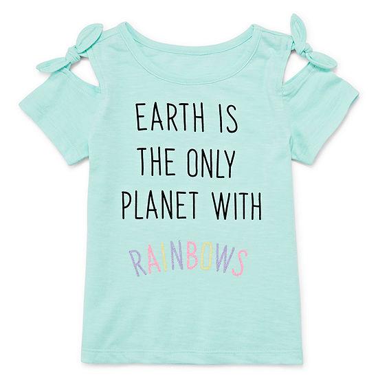 Okie Dokie Girls Crew Neck Short Sleeve Graphic T-Shirt-Toddler