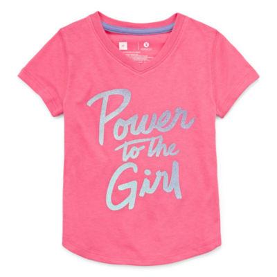 Xersion Girls V Neck Short Sleeve Graphic T-Shirt-Toddler