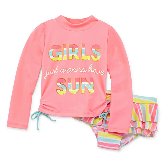 Wetsuit Club Striped Rash Guard Set - Toddler