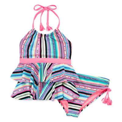Arizona Girls Striped Tankini Set - Girls 4-16