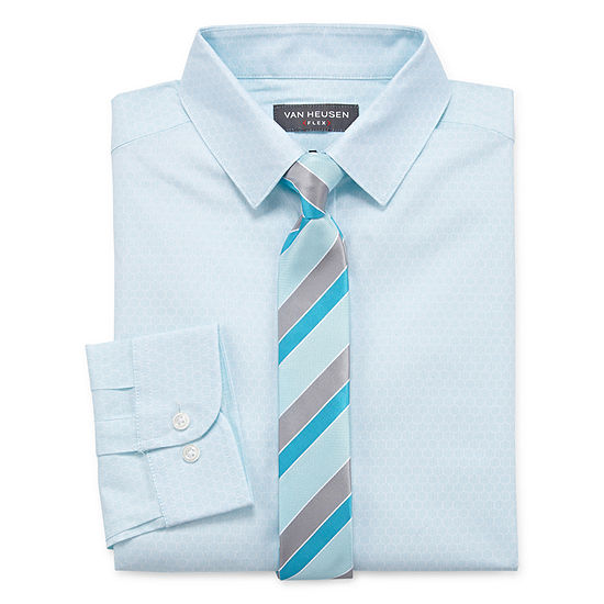 Van Heusen Boys Point Collar Long Sleeve Shirt + Tie Set - Big Kid Husky