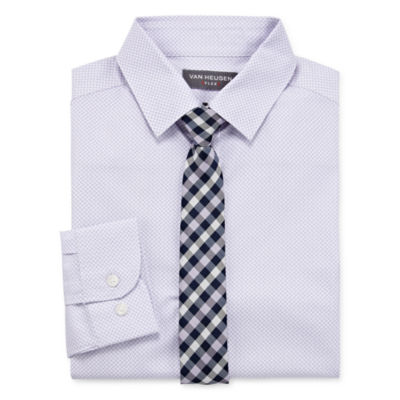 Van Heusen Boys Point Collar Long Sleeve Shirt + Tie Set Preschool / Big Kid Husky