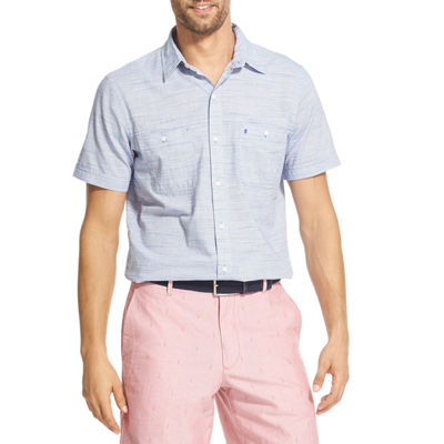 IZOD Dockside Chambray Mens Short Sleeve Button-Front Shirt