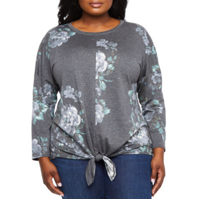 Alyx Long Sleeve Tie Front Printed French Terry Top - Plus