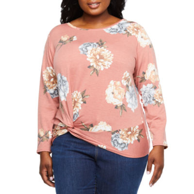 Alyx Long Sleeve Side-Twist Printed French Terry Top - Plus