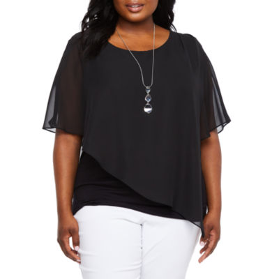 Alyx Short Sleeve Woven Popover with Necklace – Plus