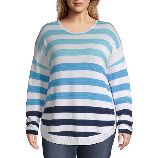 St. John's Bay Striped Pullover Sweater - Plus