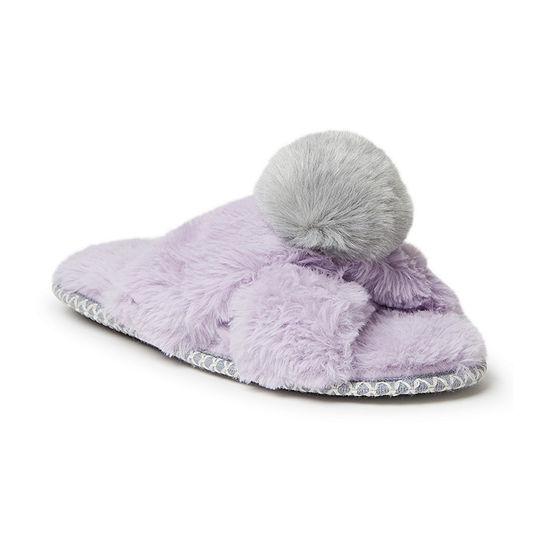 Dearfoams Pile Slide With Pom Womens Slip-On Slippers