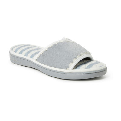 Dearfoams Terry Slide With Trim Slip-On Slippers