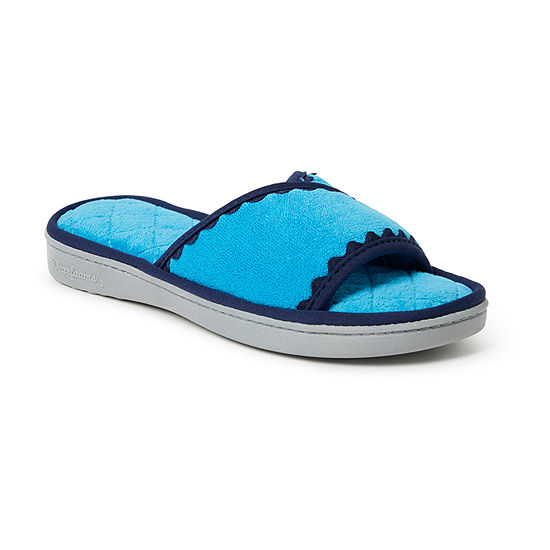 Dearfoams Terry Slide With Trim Womens Slip-On Slippers