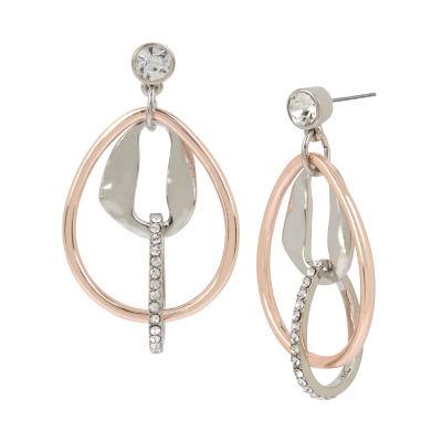 Worthington 10K Rose Gold Over Brass 2 1/2 Inch Hoop Earrings
