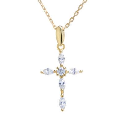 Silver Treasures Womens Cubic Zirconia Cross Pendant Necklace