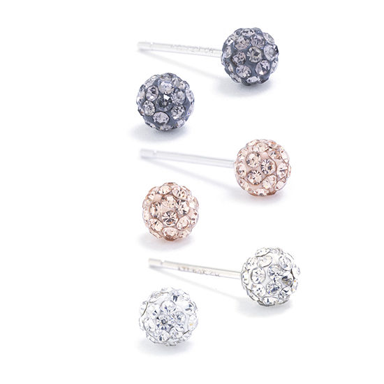 Silver Treasures Multi Color Crystal Sterling Silver 4mm Round Stud Earrings