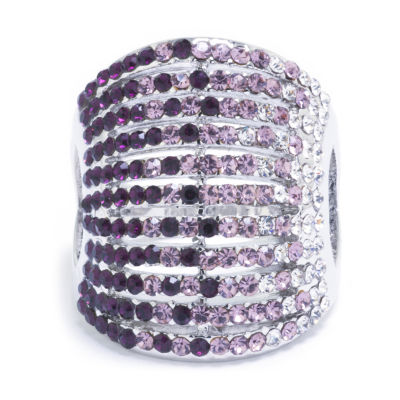 Sparkle Allure Womens Purple Crystal Pure Silver Over Brass Dome Cocktail Ring