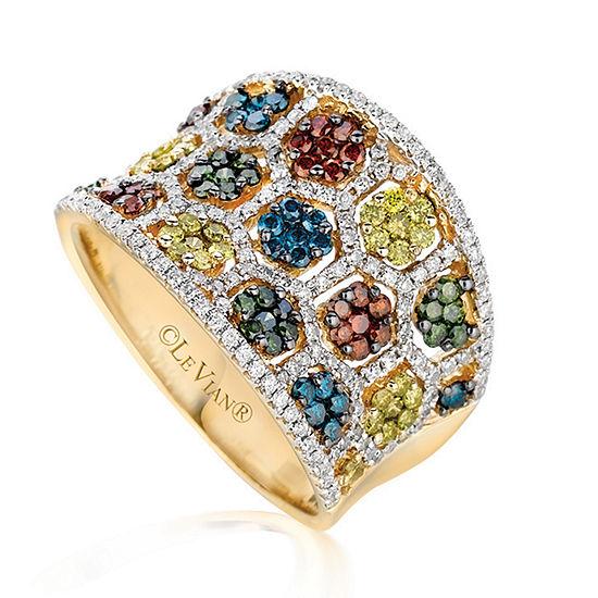 LIMITED QUANTITIES Le Vian Grand Sample Sale™ Blueberry Diamonds®, Cherryberry Diamonds™, Goldenberry Diamonds™, & Vanilla Diamonds® Ring set in 14K Honey Gold™