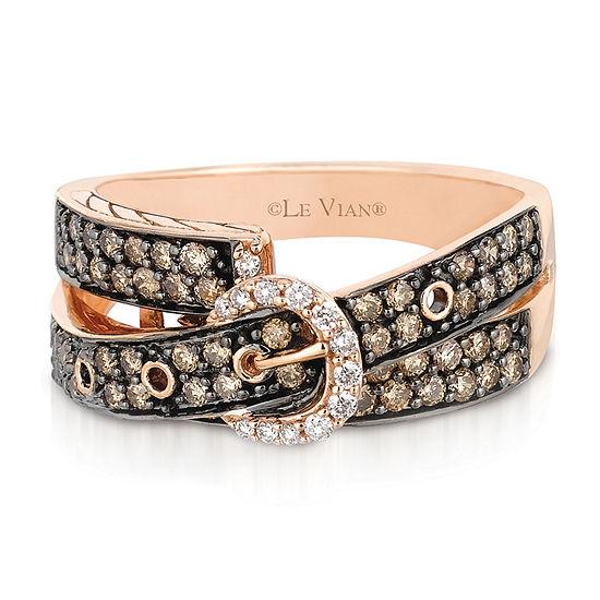 LIMITED QUANTITIES Le Vian Grand Sample Sale™ Chocolate Diamonds® & Vanilla Diamonds® Buckle Ring set in 14K Strawberry Gold®