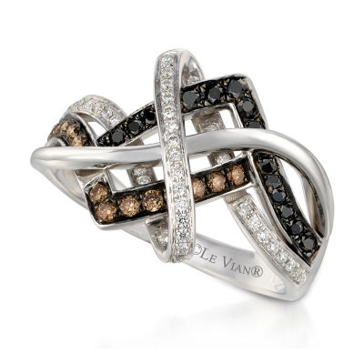 Levian Corp Womens 1/2 CT. T.W. Genuine Multi Color Diamond 14K White Gold Round Cocktail Ring