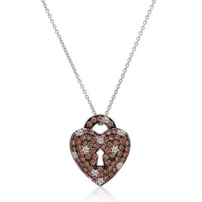 LIMITED QUANTITIES Le Vian Grand Sample Sale™ Chocolate Diamonds® & Vanilla Diamonds® Heart Pendant set in 14K Vanilla Gold®