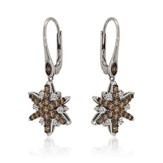 LIMITED QUANTITIES Le Vian Grand Sample Sale™ Chocolate Diamonds® & Vanilla Diamonds® Starburst Earrings set in 14K Vanilla Gold®