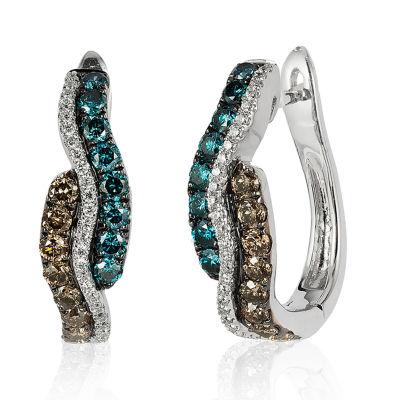 LIMITED QUANTITIES Le Vian Grand Sample Sale™ Vanilla Diamonds®, Chocolate Diamonds®, & Iced Blueberry Diamonds® Earrings set in 14K Vanilla Gold®