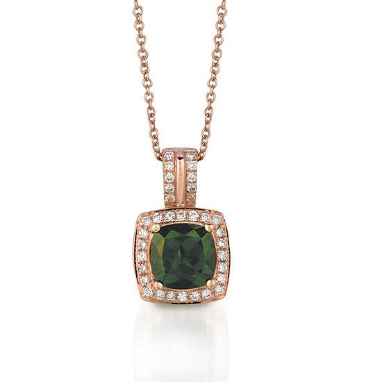 LIMITED QUANTITIES Le Vian Grand Sample Sale™ Pistachio Diopside® & Vanilla Diamonds® Pendant set in 14K Strawberry Gold®