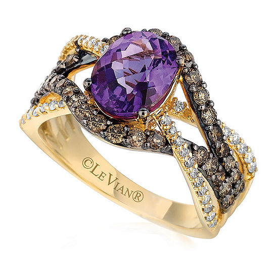 LIMITED QUANTITIES Le Vian Grand Sample Sale™ Grape Amethyst™, Vanilla Diamonds®, & Chocolate Diamonds® Ring set in 14K Honey Gold™