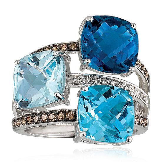 LIMITED QUANTITIES Le Vian Grand Sample Sale™ Deep Sea Blue Topaz™, Sky Blue Topaz, Ocean Blue Topaz™, Chocolate Diamonds®, & Vanilla Diamonds® Three Stone Ring set in 14K Vanilla Gold®