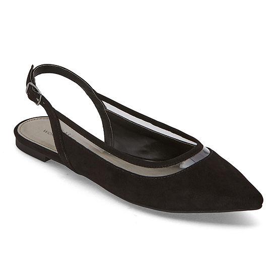 Worthington Womens Gibby Pointed Toe Ballet Flats