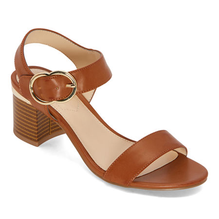 Liz Claiborne Womens Lovey Heeled Sandals, 8 Medium, Brown