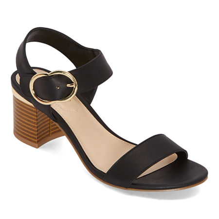 Liz Claiborne Womens Lovey Heeled Sandals, 9 Medium, Black