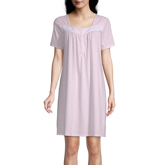 Adonna Womens Short Sleeve Square Neck Nightgown
