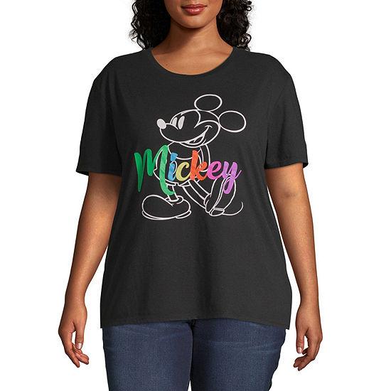 Juniors Plus-Womens Crew Neck Short Sleeve Mickey Mouse T-Shirt