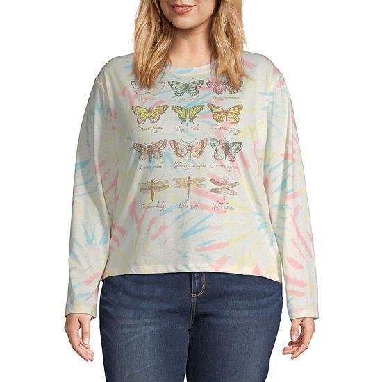 Juniors Plus Womens Crew Neck Long Sleeve Graphic T-Shirt