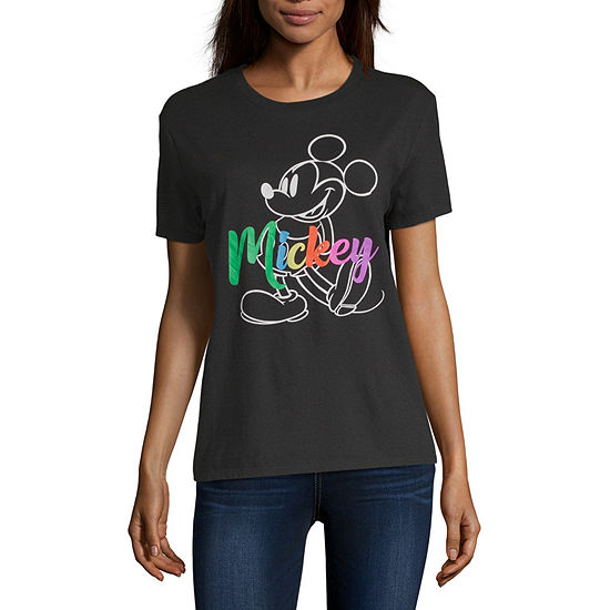Juniors Womens Crew Neck Short Sleeve Mickey Mouse Graphic T-Shirt