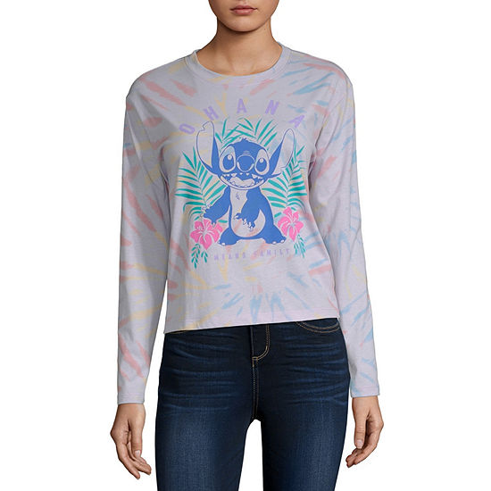 Juniors Womens Crew Neck Long Sleeve Stitch Tie Dye Graphic T-Shirt