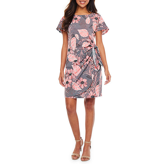 Robbie Bee Short Sleeve Floral Puff Print Sheath Dress