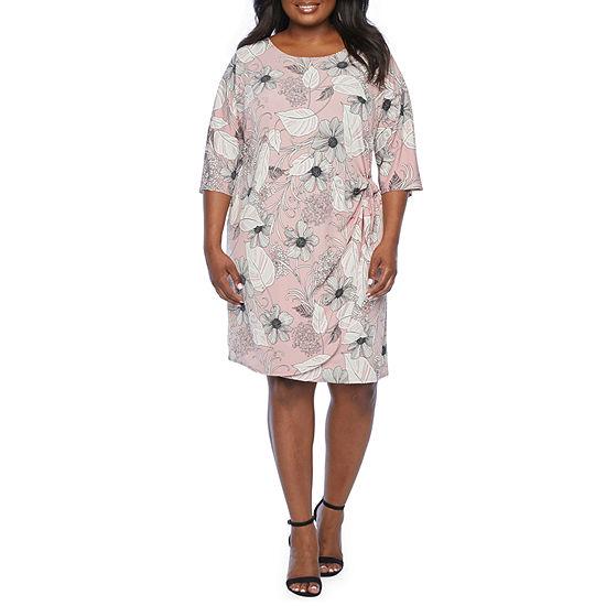 Robbie Bee-Plus 3/4 Sleeve Floral Puff Print Sheath Dress